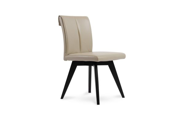 Betty Dining Chair Taupe leather Wenge leg