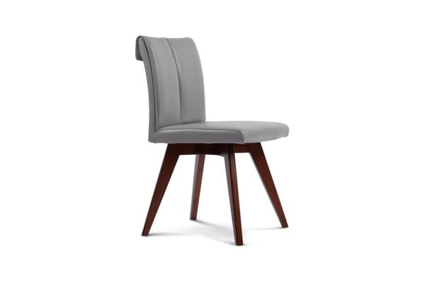 Betty Dining Chair Light Grey Leather with havana leg