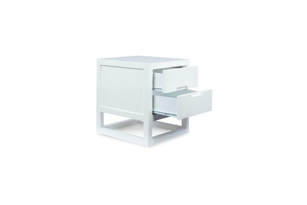 Cube Bedside Table Matte White