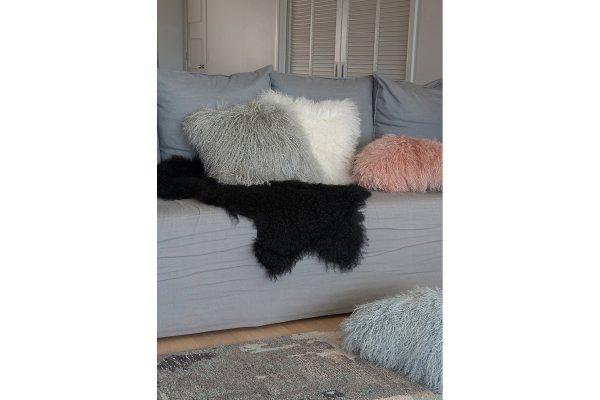 Meru Tibetan Lamb Silver Grey Cushion