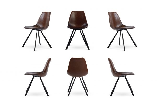 New Concept Dining Chair Set Dark Brown/Tan